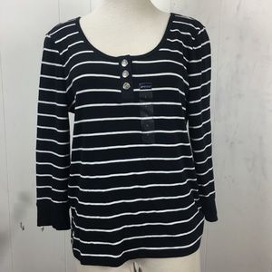 American Living Tops - NWT Black w/ White Stripes American Living Top